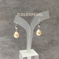 WEICOLOR Lovely 9 10mm Water Drop Pink Real Natural Freshwater Pearl Earrings With Silver Plated Hooks