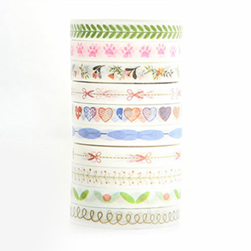 8mm*10m Fresh Style DIY Mini Cute Decorative Washi Tape Floral Adhesive Masking Tape For Scrapbooking cherry blossoms adhesive tape flowers floral set scrapbooking paper diy sticker decorative masking japanese washi tape lot 10m