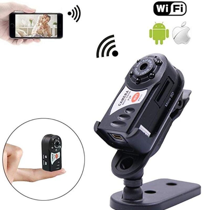 Q7 P2P Mini Camera WiFi Night Vision Motion Detection Camera DVR Camcorder Video Recorder Wireless IP Cam Built-in Microphone hqcam 720p wifi wireless mini ip camera night vision motion detect mini camcorder loop video recorder built in battery body cam