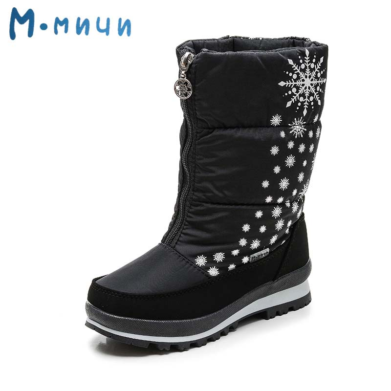 MMNUN Floral Winter Boots Girls Warm Big Girls Winter Snow Boots Mid-Calf Faux Fur Winter Girls Boots Shoes Girls Size 31-36 double buckle cross straps mid calf boots