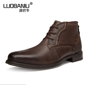 US 7-11 Mens Pointed Toe Genuine Leather Boots Business Man Retro Oxfords Casual Ankle Boots Winter Desert Boots