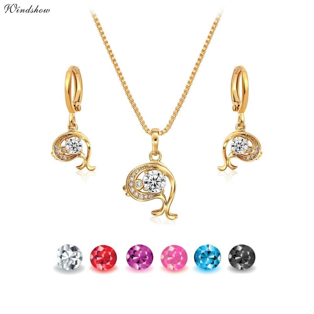 Cz Pendant Necklace Drop Earrings  Small Jewelry Sets For Women Children Girls Baby Kids