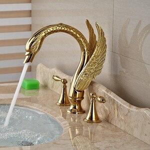 Image 3 - صنبور لحوض غسيل ذهبي بمقبض مزدوج على شكل بجعة ، صنبور خلاط لحوض الحمام مع الماء الساخن والبارد