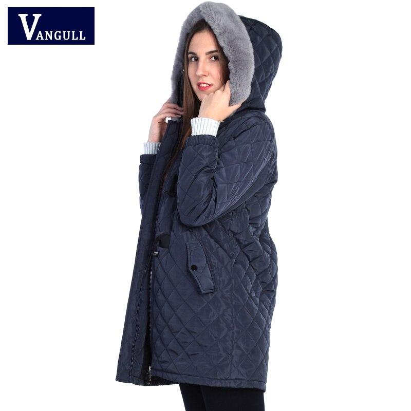 Vangull Winter Jacket 2018 New Women Cotton Coat Fur Collar Hooded Parka Female Long High Quality Jackets Zipper Warm Outwear