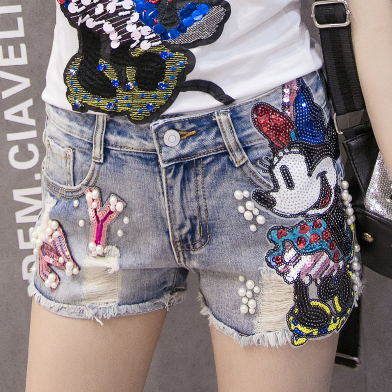 Plus Size Shorts Jeans For Women Embroidery Mickey Jeans Short Distressed Ripped Denim Shorts Pants Highwaisted Short Jean Femme