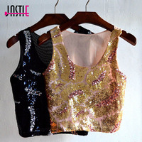 Jastie Summer Women Sequin Tank Top 2017 O Neck Sleeve Camisole T Shirt Mesh Back Slim