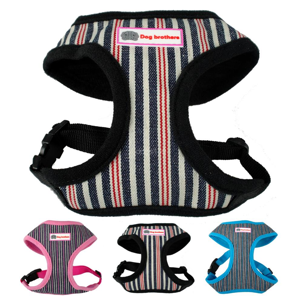 Puppy Cat Pet Dog Harness & Leash Set Stripe Pattern 3 Colors S/M/L/XL For Chihuahua