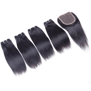 Image 3 - Human Hair Bundles with Closure Straight Brazilian Hair 4 Bundles with Middle Part Closure 100% Remy Human Weaving for Wig 8""