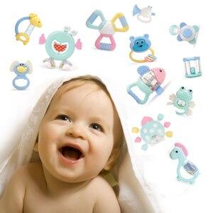 Image 2 - Baby Speelgoed Plastic Hand Jingle Schudden Bel Mooie Hand Schudden Bell Ring 12PCS Baby Rammelaars Speelgoed Pasgeboren Macarons Bijtring speelgoed