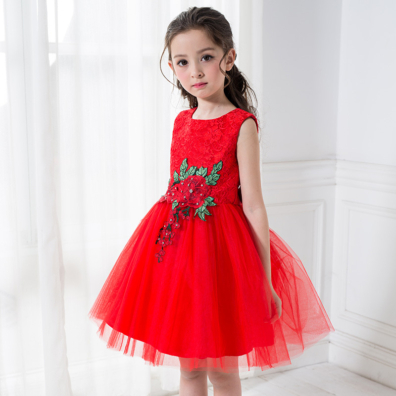 New Traditional Chinese Red Princess Girl Sleeveless Bowknot Gown Ball Embroidery Lace Wedding Flowers Formal Party Dress free shipping new red hot chinese style costume baby kid child girl cheongsam dress qipao ball gown princess girl veil dress