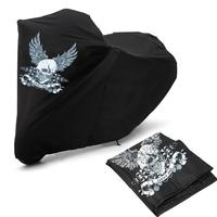 Black XXL Skull Wing Motorcycle Cover Waterproof UV 180T Polyester Colored Foil Stamping Process Double Stitched For Motorcycles