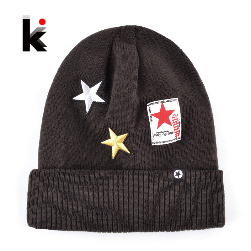 Autumn And Winter Men's Fashion Knitted Hats Stars Embroidery Skullies Beanies For Men Warm Knit Hip Hop Caps Women Gorros Touca fine three dimensional five star embroidery hat for women girls men boys knitted hats female autumn winter beanies skullies caps