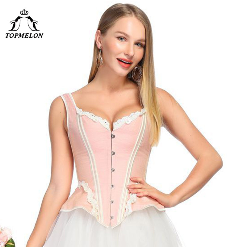 TOPMELON Victorian   Corset   Elegant Steampunk Overbust   Corsets   Lace Floral Pattern   Bustier   Tops Slimming Costume for Women