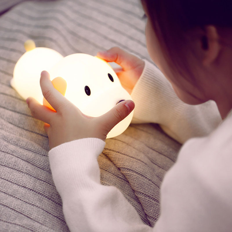 Dimmable Led Night Light Lamp Touch Silicone Puppy Cartoon For Baby Children Kids Gift Bedside Bedroom Living Room Decoration