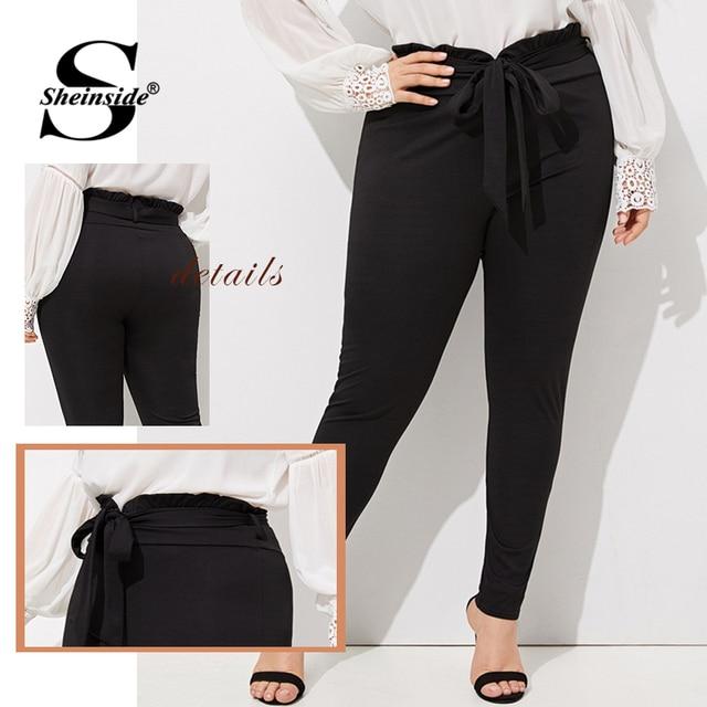 Sheinside Plus Size Elegant Pleated Waist Skinny Pants Women 2019 Spring Mid Waist Belted Trousers Ladies Casual Carrot Pants 4
