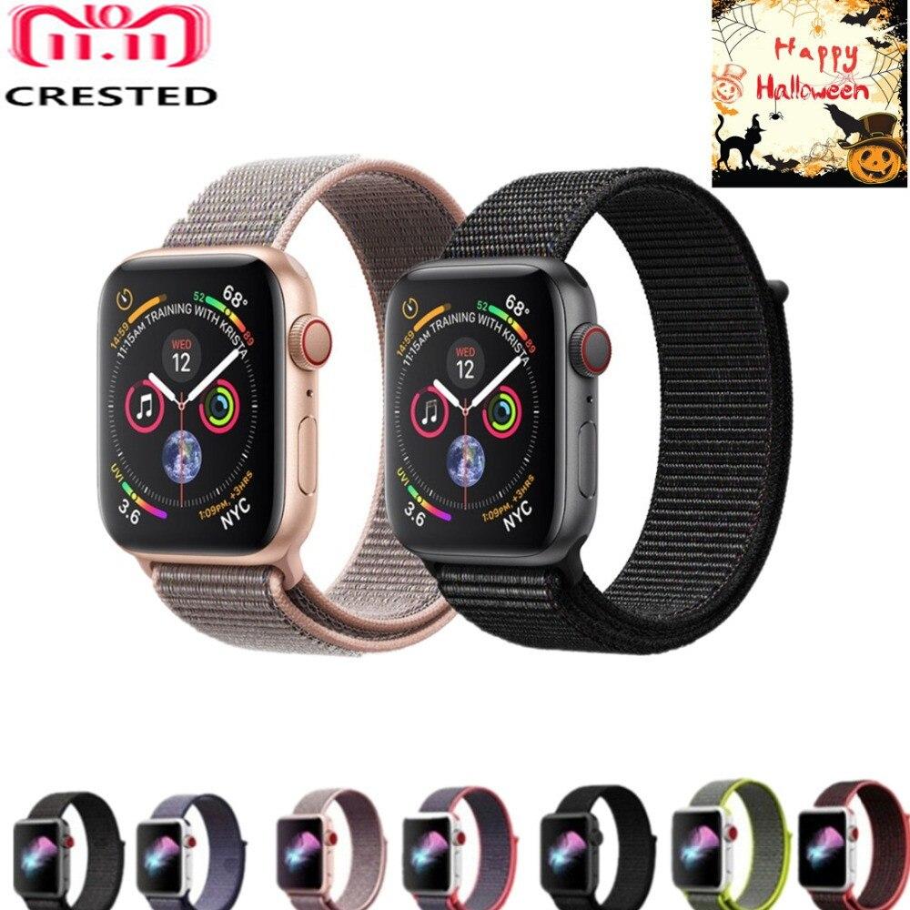 CRESTED deporte bucle para reloj Apple Watch banda 42mm 44mm correa tejida correa de Nylon 40mm/38 iwatch 4/3/2/1 muñeca reloj de pulsera de cinturón