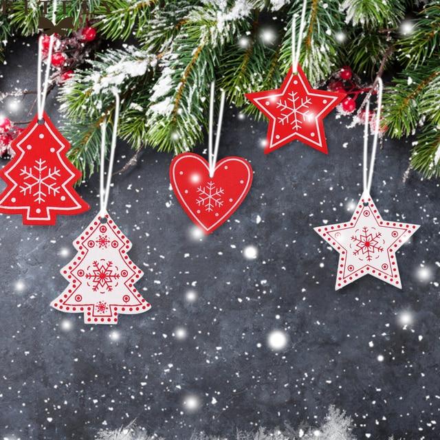 Kerst Rood Wit Hout Sneeuwvlok Kerstboom Hart Star Party