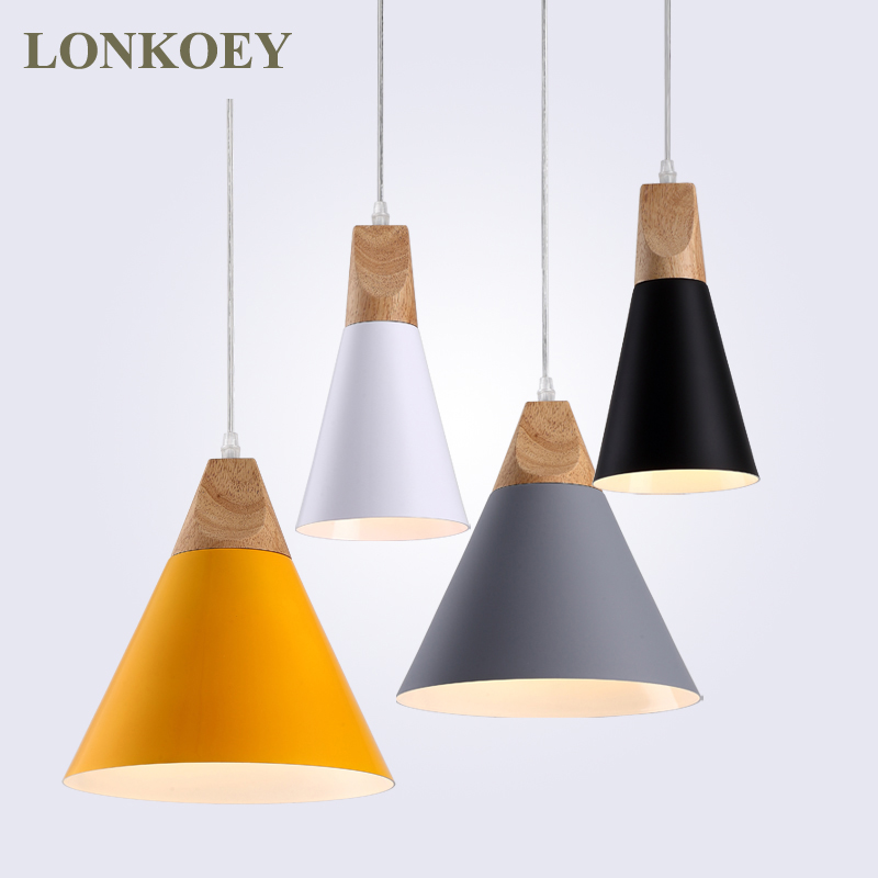 Modern Wood Pendant Lights Aluminum Colorful Pendant Lamps For Restaurant/Bar Lighting luminaire Home Decoration lamparas 2016 new luminaire lamparas pendant lights modern fashion crystal lamp restaurant brief decorative lighting pendant lamps 8869