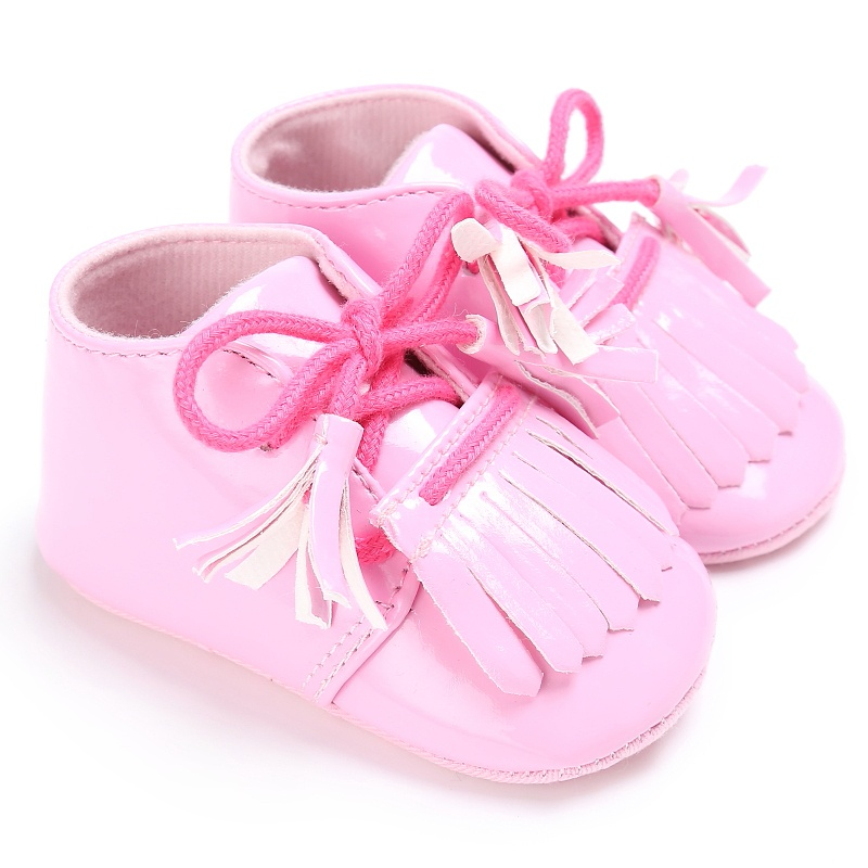 Baby Boy Girl Shoes Patent Leather Crib Bebe First Walkers Fringed Lace-Up Moccasins Soft Sneakers Baby Shoes