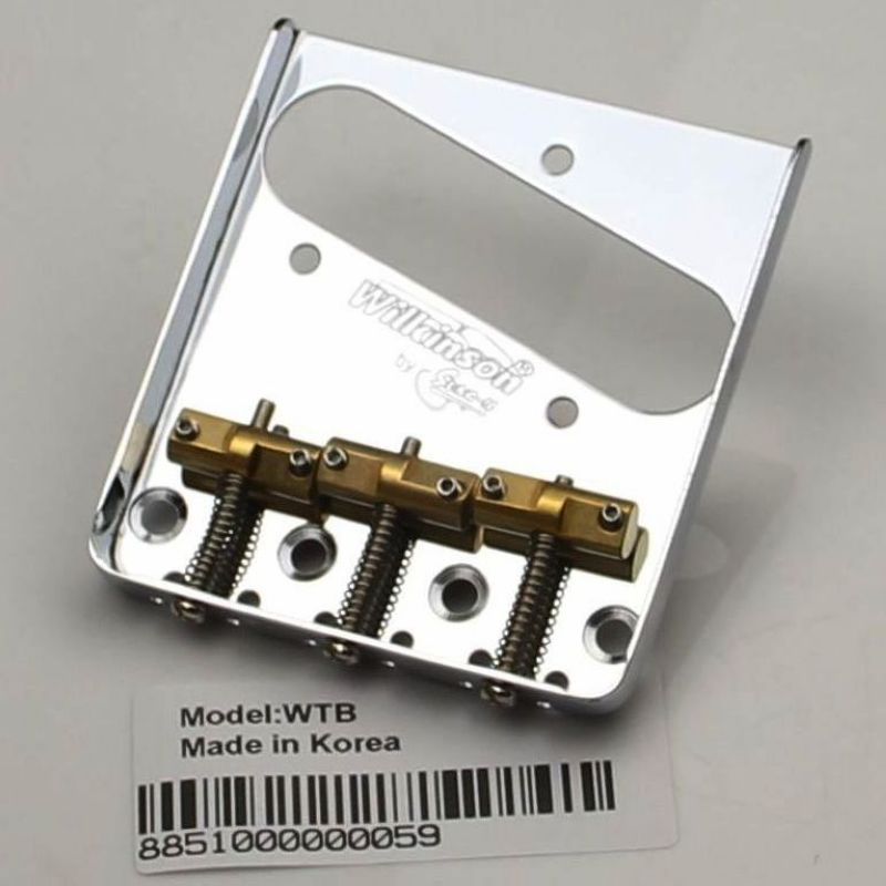 Image 2 - Wilkinson WTB Chrome silve Vintage Style Fixed Tele Electric Guitar Bridge With Brass Saddles for TL Guitar bridge-in Guitar Parts & Accessories from Sports & Entertainment