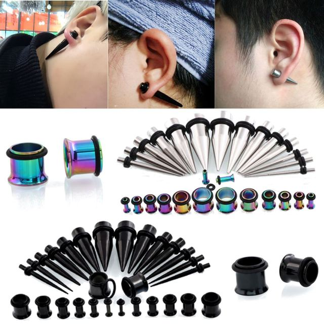 28pcs Stainles Steel Ear Taper Stretching Kit Gauge Expander Flesh Plugs Tunnel Earlobe Earring Piercing