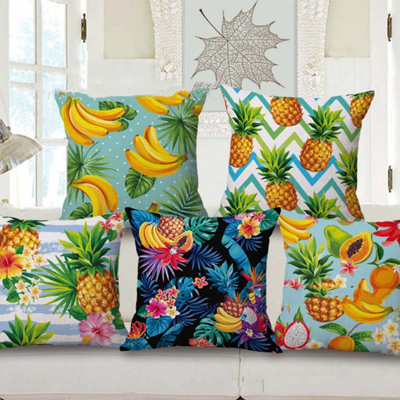 2018 new Customized 6 Styles Cushion Covers Banana Fruits Custom Pillows Cover Geometry Baby Sofa Decoration Gift