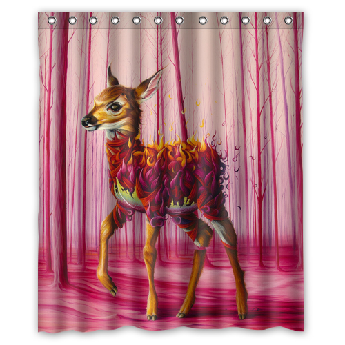 Autumn Red Leaves Deer Custom Unique Create Waterproof Shower Curtain Bathroom Products Curtains 48x72 60x72