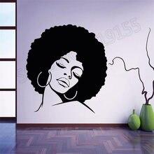 Afro Hippie Girl Face Wall Stickers Girls Beautiful Sexy Beauty Salons Hairdresser Interior Vinyl Modern Design Mural ZW294