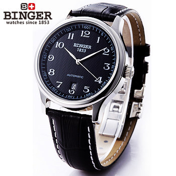 Men's Top Luxury Brand King Wristwatch Binger Automatic Movement Date self wind Watches Stainless Steel Leather Dive Watch 1853 original binger mans automatic mechanical wrist watch date display watch self wind steel with gold wheel watches new luxury