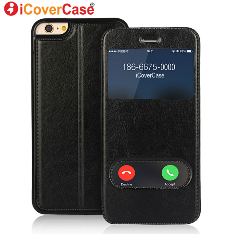 Coque for iPhone SE Cover Window View Case Flip Leather ...