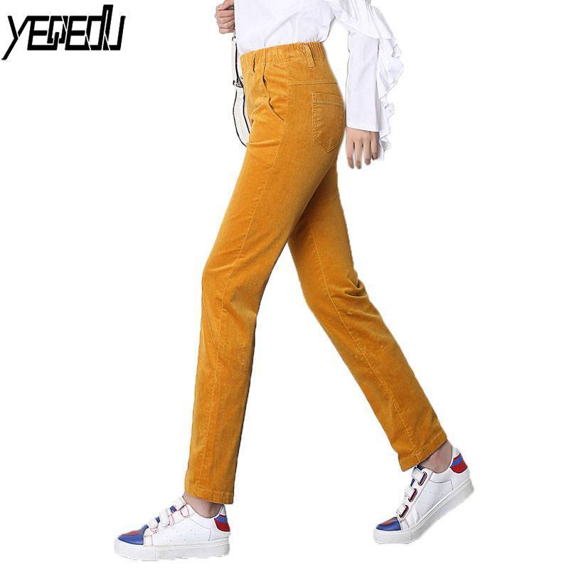 #5503 2018 Straight trousers women High waist pants Casual Fall/Winter pants women Elastic waist Pantalon femme Corduroy pants