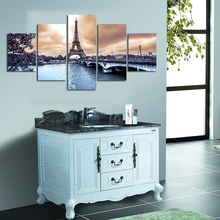 лучшая цена Vintage Home Decor Paintings On Canvas 5 Panel The European Cities Scenery Framework Pictures Posters Prints On The Wall