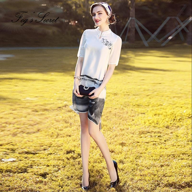 Chinese style Vintage Real Dress For Women Printing White Dress cheongsam dress silk dress 2018 Summer Autumn