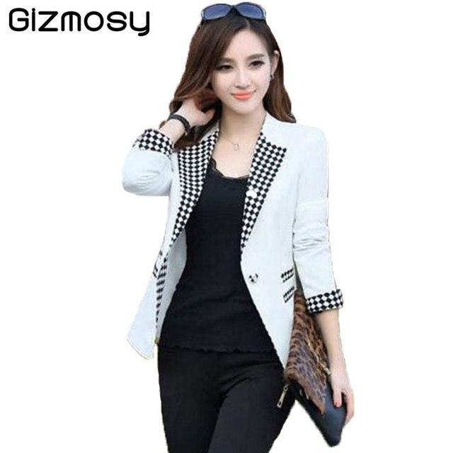 8a1ae650253c0 Señoras Blazers 2018 nueva moda solo botón blazer chaqueta de traje blanco  Blaser femenino más tamaño