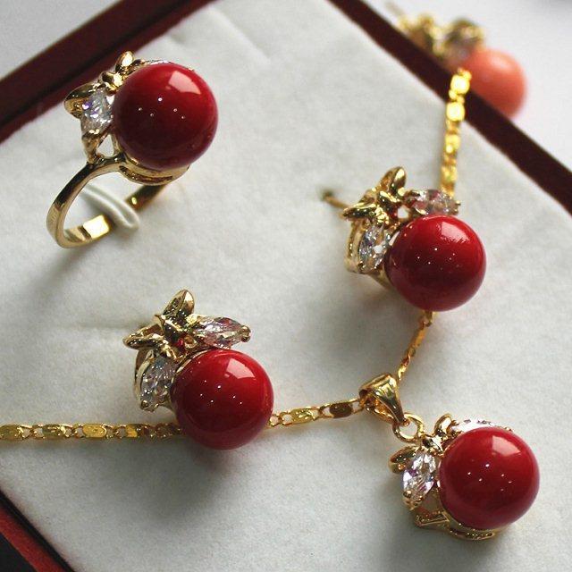 Prett Women's Wedding fancy jewelry set 10mm red shell pearl,ring, pendant & stud earring