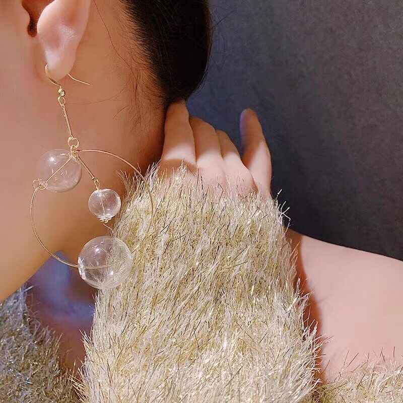 Big Transparent Bubble Ball Drop Earrings For Women Hanging Statement Earrings Fashion Jewelry Party Street Style Bijoux