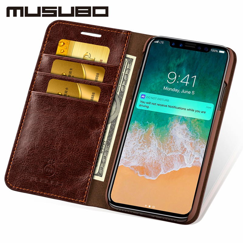 Musubo Leather Case For iPhone X Luxury wallet phone bag Cover for iphonex 8 Plus 7 Plus 6s 6 5 5s SE 4 4s flip cases capa coque