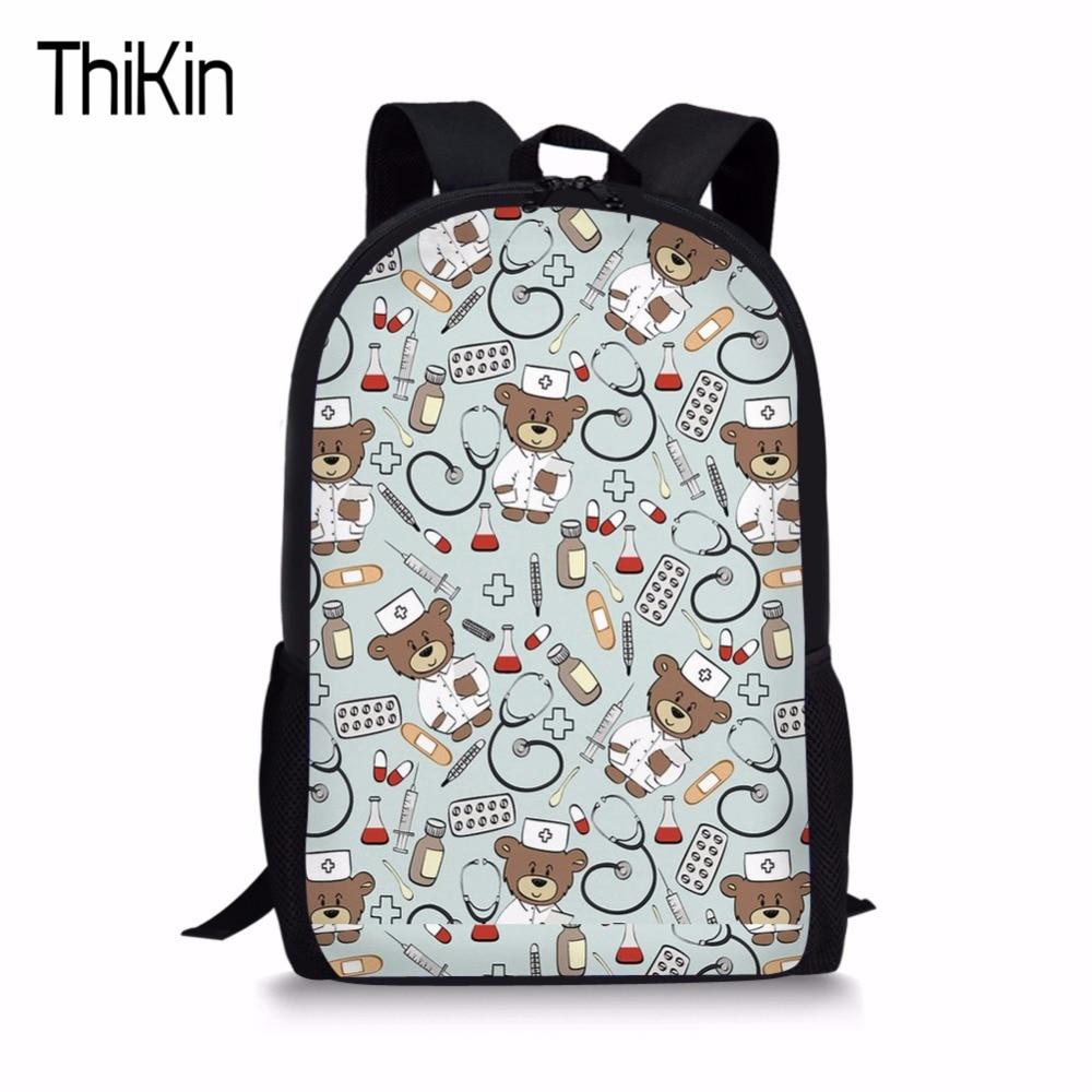 THIKIN Cartoon Bear Doctor Nurse Kids Bags School Backpack For Child Girl School Bag For Kindergarten Children Backpack mochila