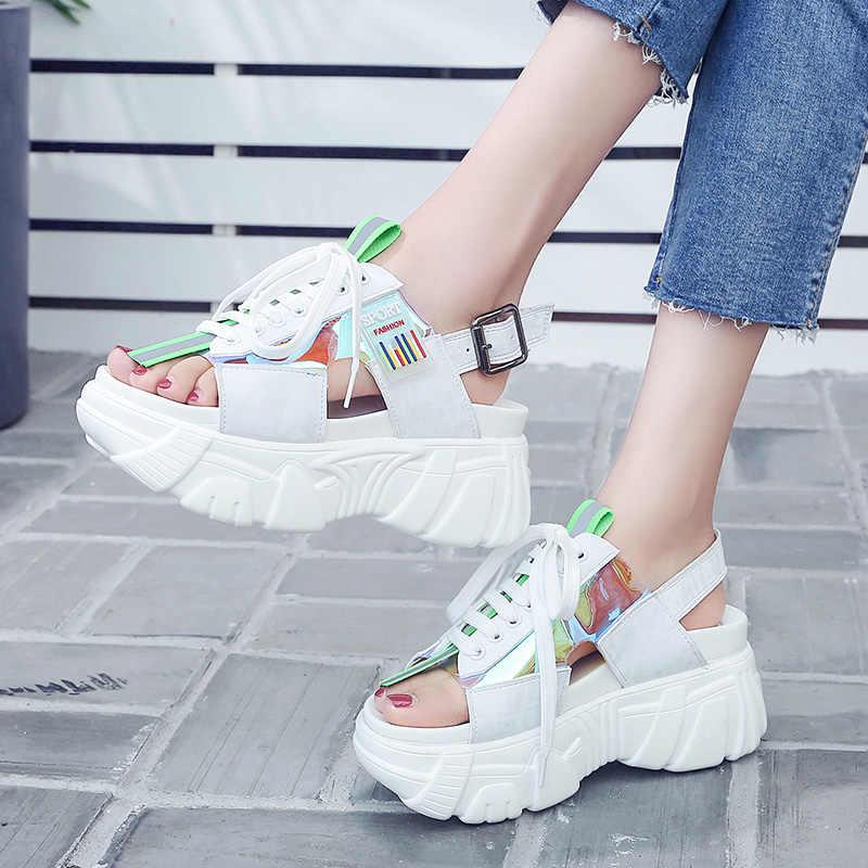 ERNESTNM Kadın Sandalet 2019 Yaz platform sandaletler Beyaz Takozlar Ayakkabı Tıknaz Hafif Örgü açık burunlu yüksek topuklu ayakkabı Sandalias Mujer