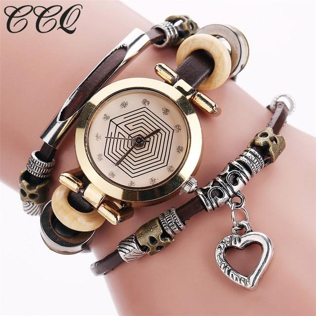 Ccq мода старинный кожаный браслет часы женщины повседневная сердце любовь подвеска наручные часы кварцевые часы relogio feminino подарков 2064