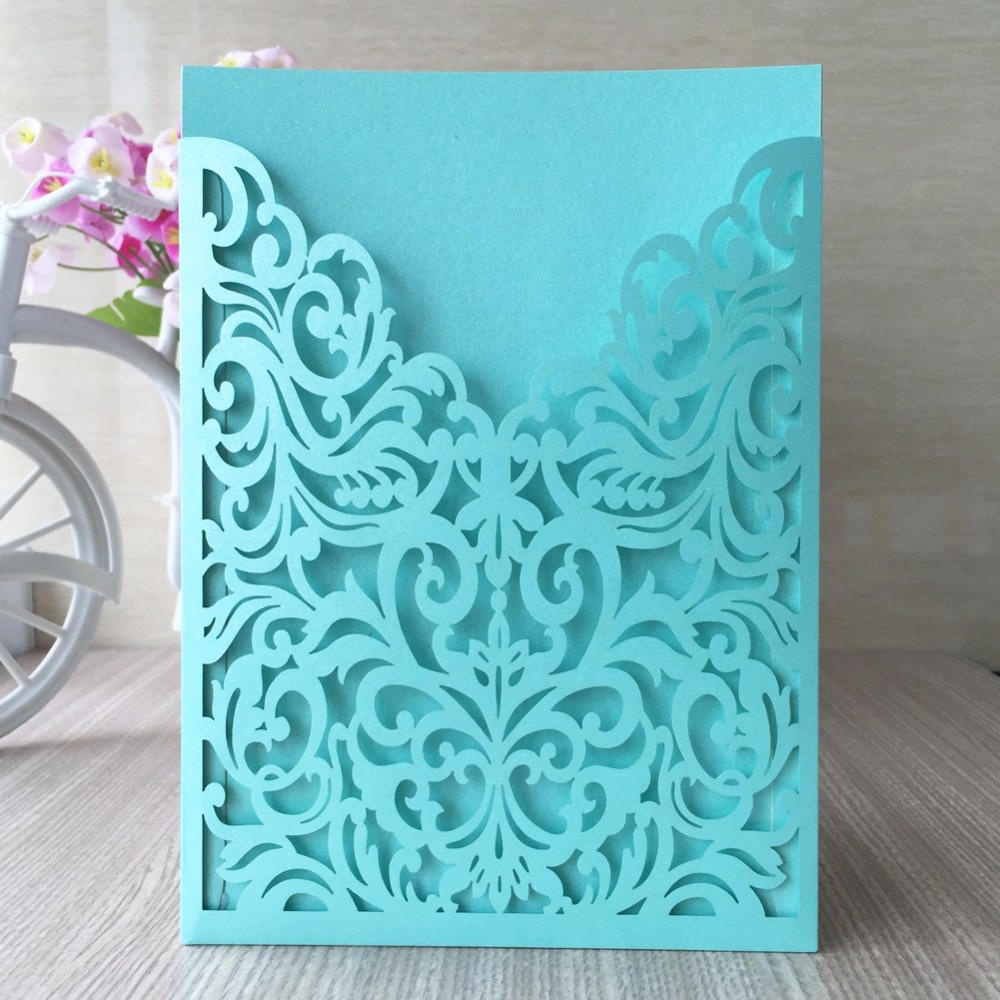 Tiffany Blue Gold Red 21 Colors 2017 Vintage Wedding Invitations
