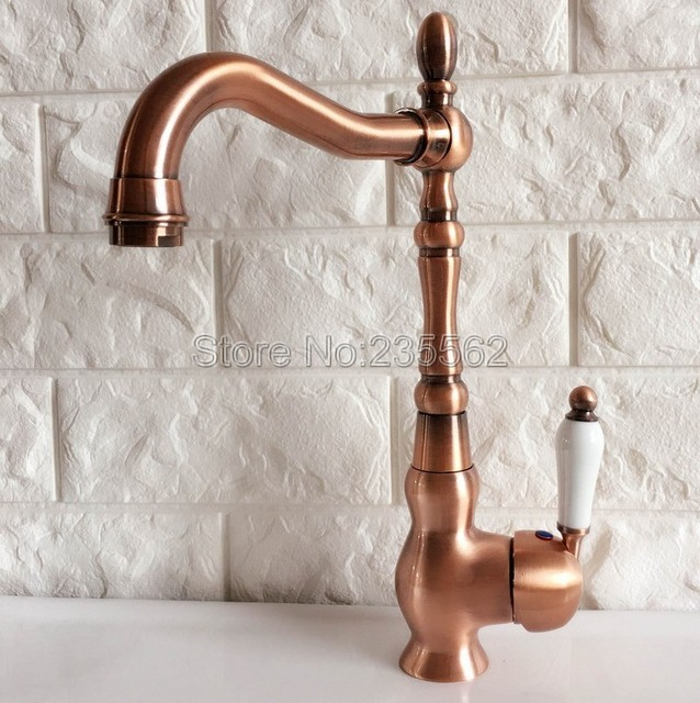 Red Copper Swivel Kitchen Sink Faucet Washbasin Faucets Single Lever ...