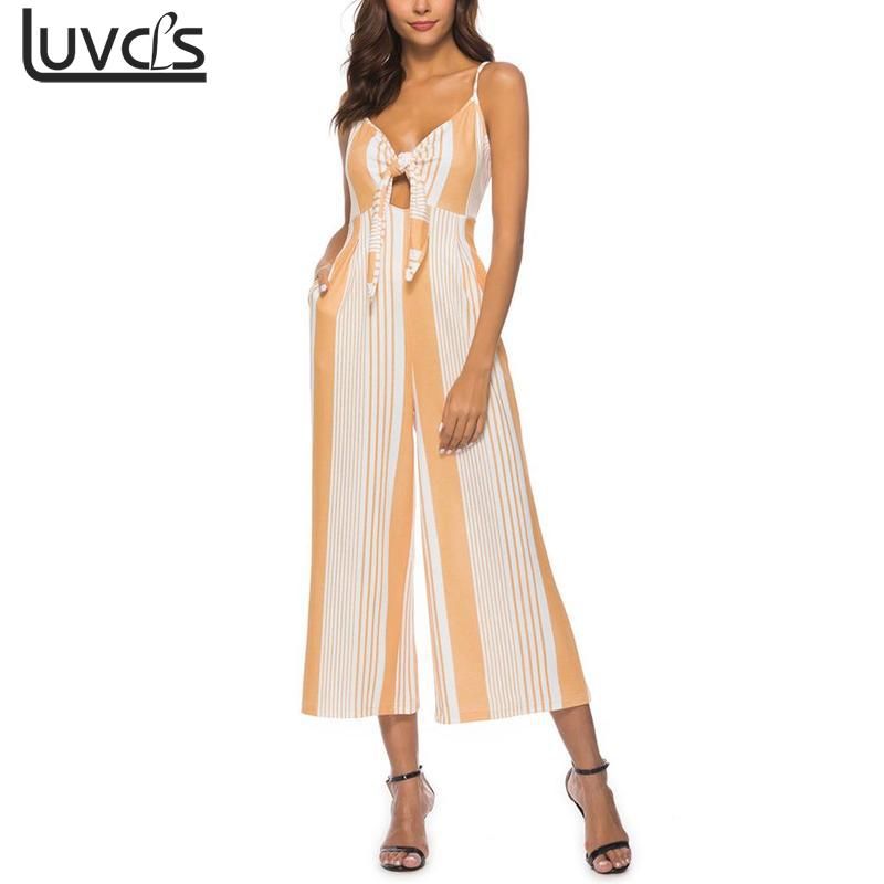 2018 Fashion Bow Tie Stripe Women Jumpsuit Sexy Spaghetti Strap Rompers Womens Jumpsuit Elegant Summer Playsuit Overalls ZLP9274