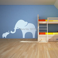 Mama And Baby Elephant Wall Decal 44 X 23 111x58cm Vinyl Nursery Wall Stickers Elephant Free