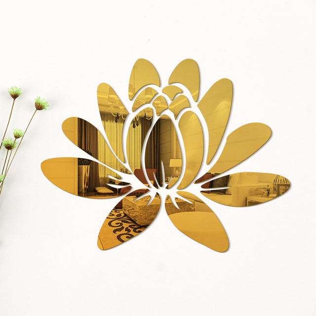 Creative Elegant Lotus 3D Decorative Acrylic Mirror Wall Stickers Flower Home Bedroom Decor Living Room Decoration Poster 4