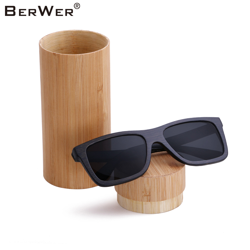 BerWer 2019 new black  frame bamboo sunglasses polarized lens wooden sunglasses