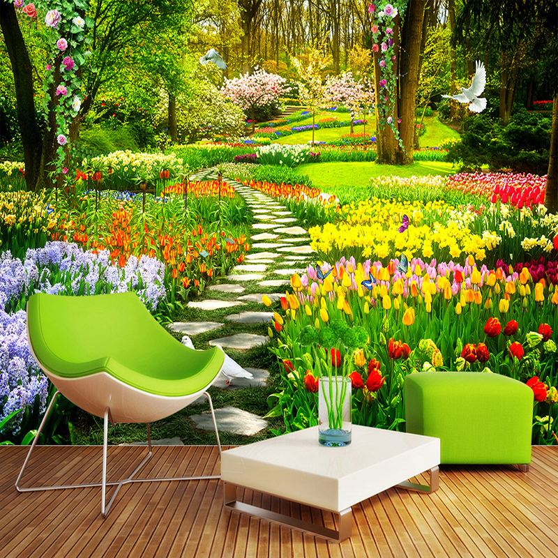 Custom Wall Mural 3D Garden Park Small Road Scenery Photography Background Photo Wallpaper For Wall Painting Living Room Bedroom beibehang custom european marble carpet 3d photo wallpaper for living room bedroom bathroom floor painting wall mural wall paper