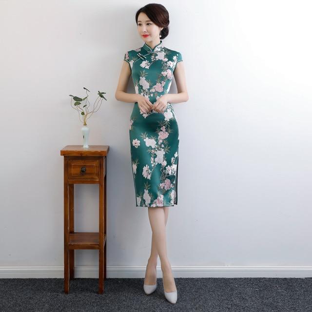 Женское платье Ципао до колена, традиционное китайское платье из искусственного шелка, Новое поступление, Размеры M, L, XL, XXL, XXXL, 4XL, 9992 Чонсамы      АлиЭкспресс