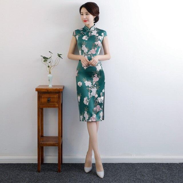 Cheongsam Knee Leng Traditional Chinese Style Women's Rayon Dress Slim Qipao New Arrival Vestidos Size M L XL XXL XXXL 4XL 9992