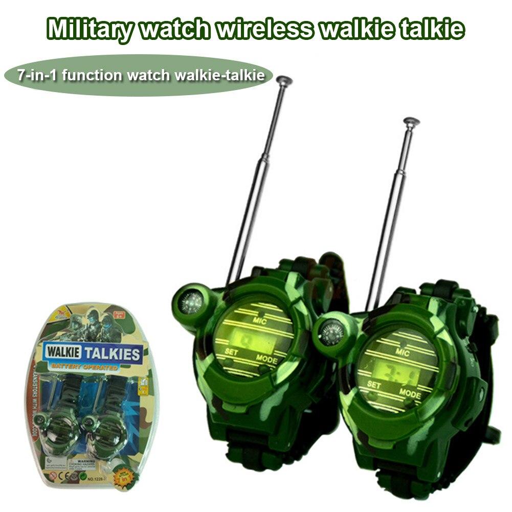 2pcs Walkie Talkie 7 In 1 Watch Compass Wireless For Children Kids Outdoor Interactive Toy BM88